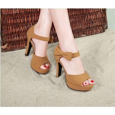 欧美高跟鞋防水台厚底女鞋鱼嘴粗跟蝴蝶结凉鞋