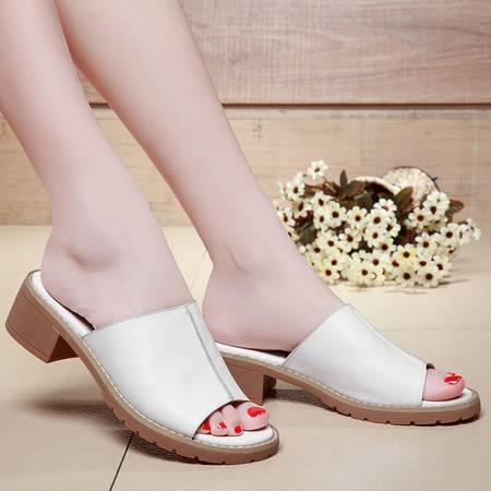夏季新款韩版休闲女防水台粗跟鞋时尚中跟女凉拖鞋女鞋