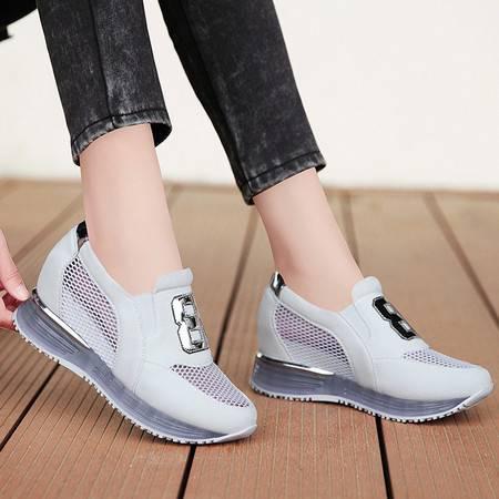 夏季新款厚底网纱透气运动鞋女单鞋 内增高跑步鞋