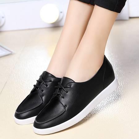 系带单鞋女平底鞋休闲时尚女鞋英伦皮鞋工作鞋