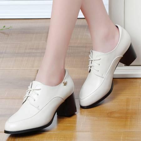 粗跟单鞋女春季新款中跟休闲皮鞋欧美圆头系带高跟鞋女鞋