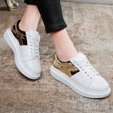 春夏新款厚底平跟单鞋系带运动休闲女鞋