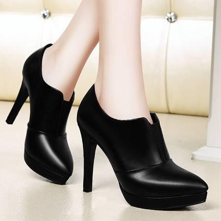 春新款深口单鞋女高跟防水台细跟女鞋英伦潮皮鞋女休闲鞋