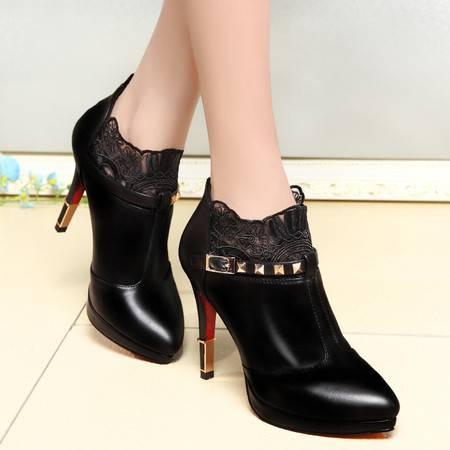 春季新款超高跟单鞋女细跟防水台皮鞋深口蕾丝欧美女鞋