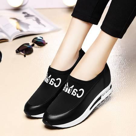 春季新款平底女鞋内增高休闲鞋时尚运动鞋女潮厚底乐福鞋