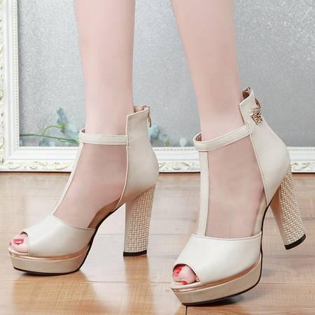 蕾丝鱼嘴网纱单鞋女高跟OL优雅时尚女鞋春厚底粗跟鞋