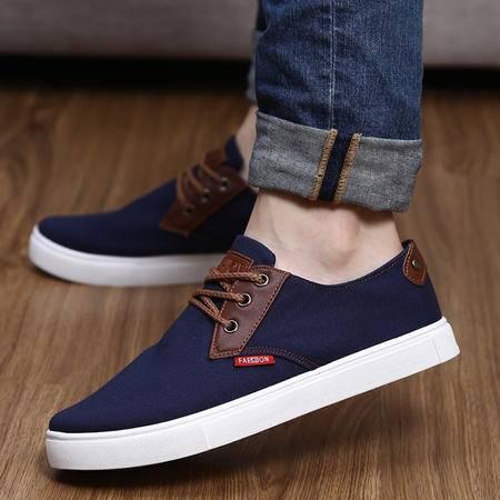 春夏款英伦休闲男士帆布鞋男鞋 低帮学生男板鞋纯色透气单鞋