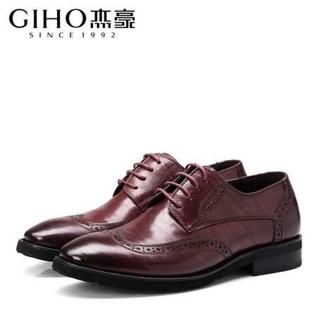 新款布洛克雕花男鞋英伦系带休闲真皮鞋男士青年复古鞋
