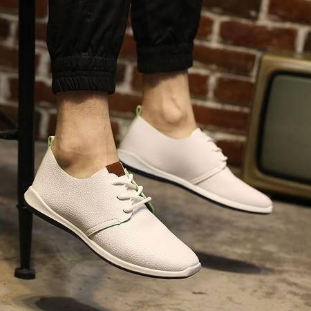 春季新款男鞋 韩版潮男休闲鞋商务圆头男士皮鞋透气单鞋