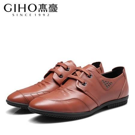 春季新款男士休闲皮鞋英伦真皮系带商务男鞋软面皮软底驾车鞋