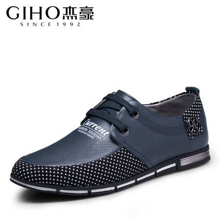男鞋春季新款系带日常休闲男士皮鞋真皮潮流拼接男鞋子韩版鞋