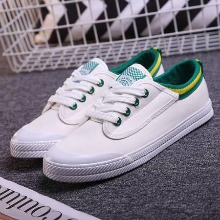 明星同款春季男鞋学生运动鞋小白鞋系带胶鞋情侣帆布鞋