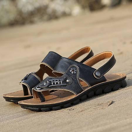 男士凉鞋男夏季真皮沙滩鞋子新品厚底防滑露趾透气休闲款男鞋