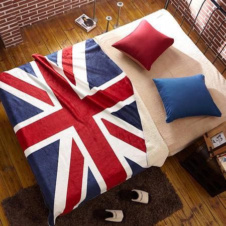 床上用品被枕套米字旗美国旗羊羔绒毯 午休毯 /空调毯 办公沙发毯