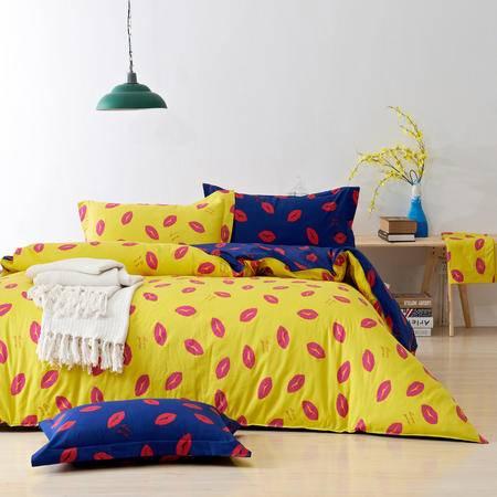 床上用品被枕套全棉红唇双拼时尚四件套 纯棉床单床笠款