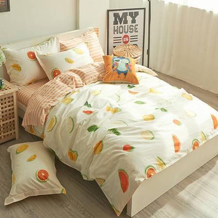 床上用品被枕套100%全棉斜纹半活性印花四件套单双人纯棉床上用品四件套