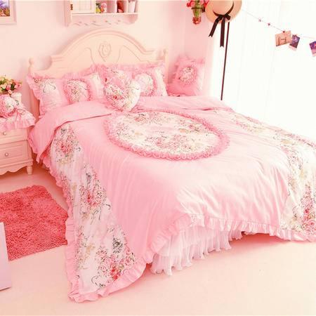 床上用品被枕套韩式碎花淑女全棉三/四件套 纯棉蕾丝床裙套件