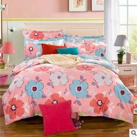 床上用品被枕套12868斜纹100%纯棉活性印花全棉小清新款四件套