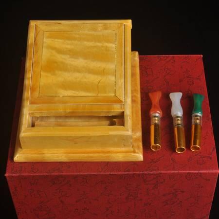 工艺烟跳满水波大叶金丝楠烟盒高档桌面摆件木质跳烟器时尚经典工艺品