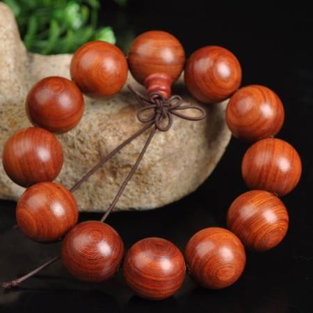 工艺精品非洲缅甸小叶紫檀红檀2.0木顺纹男女情侣款士佛珠手串链