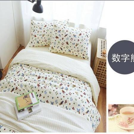 床上用品被枕套韩式小清新简约纯棉四件套全棉床笠床上用品套件