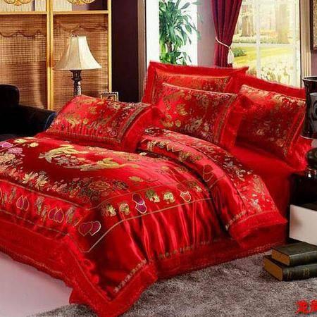 床上用品被枕套婚庆床品 纯棉绸缎婚庆四件套 龙凤百子多件套
