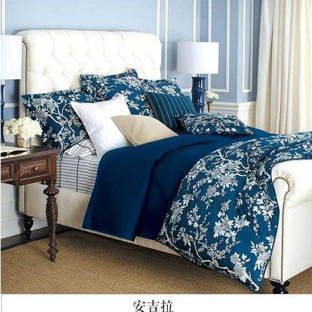 床上用品被枕套外贸原单70支贝壳扣长绒棉贡缎四件套 美式田园婚庆床品
