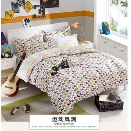 床上用品被枕套全棉时尚休闲简单欧式风格纯棉清新被套床上用品三四件套