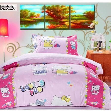 床上用品被枕套全棉斜纹印花儿童三件套 卡通套件