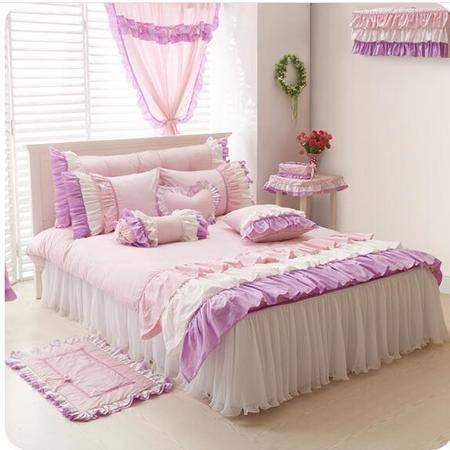 床上用品被枕套全棉韩式三公主花边四件套 纯棉蕾丝床罩