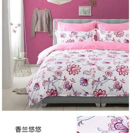床上用品被枕套 100%全棉斜纹半活性印花四件套单双人纯棉床上用品四件套