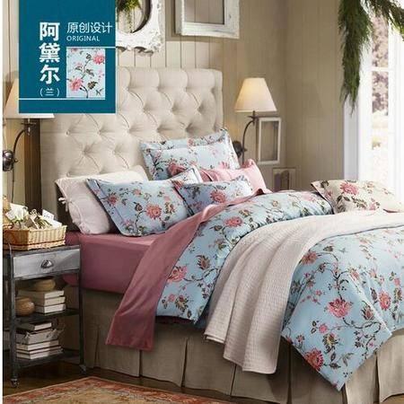 床上用品被枕套40支全棉匹马棉美式田园风纯棉双人床上用品套件