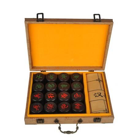 工艺木雕黑檀中国象棋套装4.8木质缅花象棋实木礼品摆件便携带锦盒