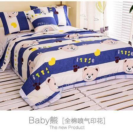 床上用品被枕套全棉喷气印花夏被加大纯棉透气舒适夏凉被空调被