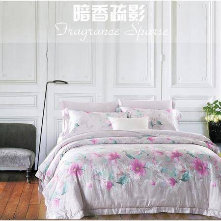 床上用品被枕套春夏新品40s天丝大提花四件套欧式田园清新风