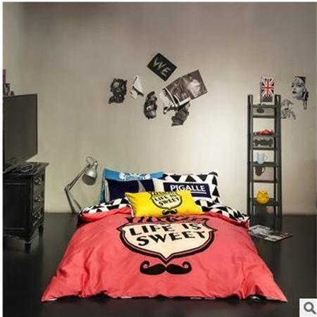床上用品被枕套欧美全棉印花四件套简约时尚纯棉床单4件套床上用品套件