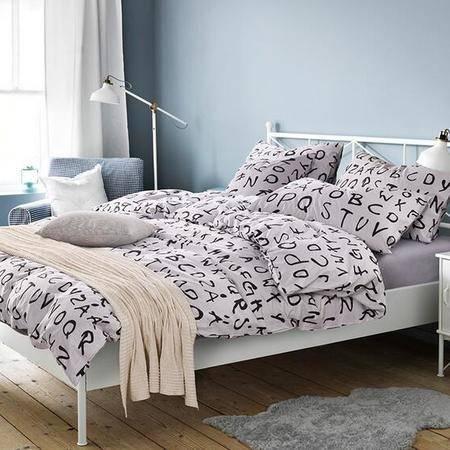 床上用品被枕套全棉133*72高支高密活性四件套斜纹印花高档纯棉床单被套