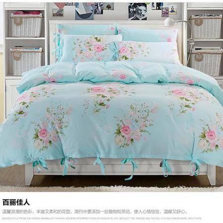 床上用品被枕套新款淑女风100%斜纹全棉活性印花四件套纯棉套件床上用品