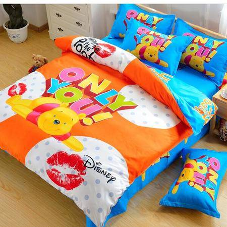 床上用品被枕套 芦荟棉三件套儿童卡通超可爱迷你风床上用品涤棉三四件套床笠