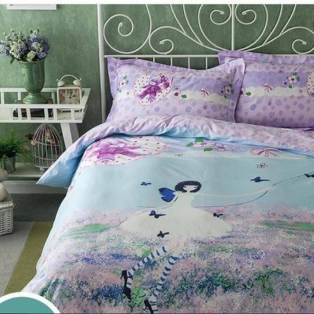 床上用品被枕套  新款13370纯棉花卉床上用品套件100%全棉大版花四件套