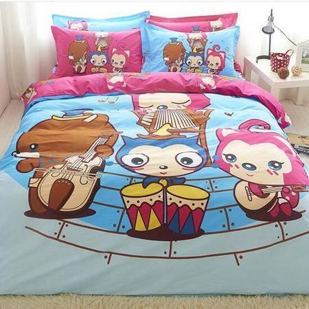 床上用品被枕套 全棉卡通可爱套件高档全活性印花纯棉三四件套床单床笠