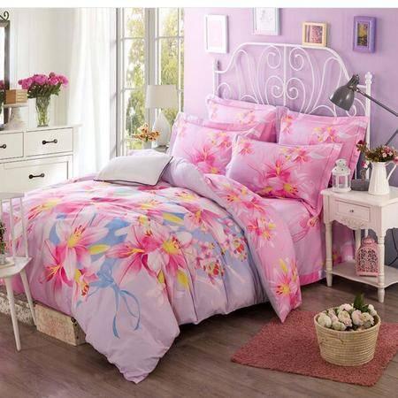 床上用品被枕套     13372活性大版花四件套 舒适简约套件田园风时尚大气