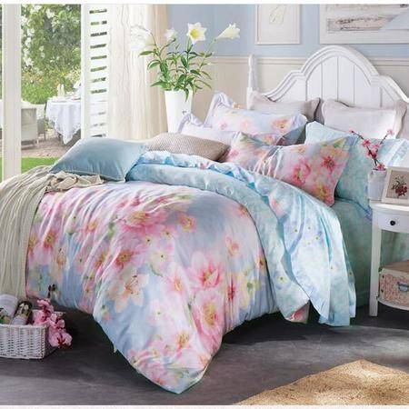床上用品被枕套    春夏新品40S圆网天丝四件套 欧式大版花田园清新