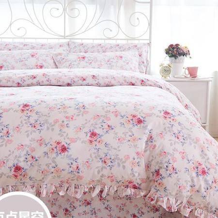 床上用品被枕套     小清新全棉四件套小碎花荷叶边纯棉套件田园自然简约
