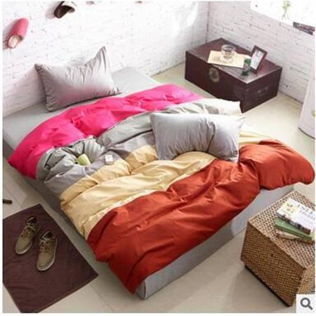 床上用品被枕套    时尚全棉四拼色四件套宽条纹大气活性纯棉简约套件
