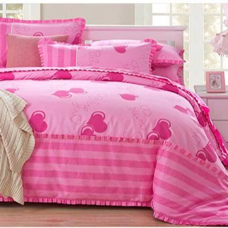 床上用品被枕套     全棉133*76高支高密加厚四件套韩版可爱纯棉套件