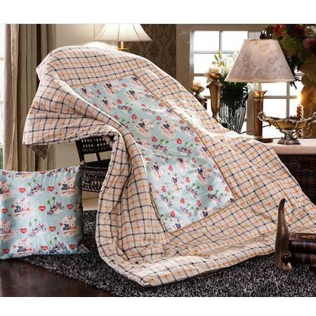 床上用品被枕套     欧式冰丝抱枕被 卡通田园风舒适靠垫被大号枕头被空调被