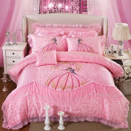 床上用品被枕套     婚庆结婚套件床上用品全棉贡缎八件套大红色结婚套件