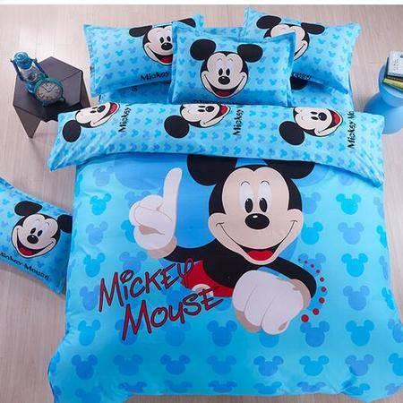 床上用品被枕套     芦荟棉三件套儿童卡通米奇可爱风涤棉三四件套床笠款