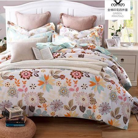 床上用品被枕套    简约清新12868全棉四件套田园风纯棉单双人被套床单4件套